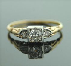 Antique Diamond Ring  14k Yellow Gold with by SITFineJewelry, $1650.00