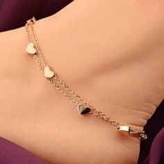 FREE SHIPPING - 7 Heart Rose Gold Anklet - Barefoot Women Chain Hearts Anklet by Fashion Nation on Opensky