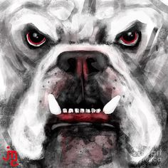 Sic Em Digital Art by J Travis Duncan (Georgia Bulldogs inspired art) Dawgs UGA college football NCAA Football SEC