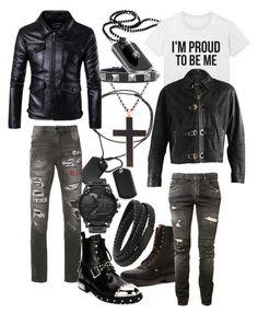 """Rin and Damien"" by imortalsnail on Polyvore featuring MANGO MAN, Kiltie, Balmain, Haculla, Alexander McQueen, Diesel, Steve Madden, men's fashion and menswear"