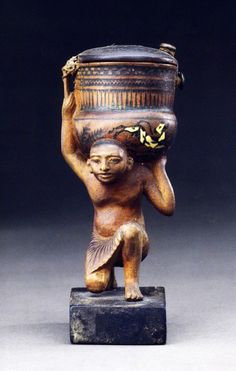 Unguent Container of Siamun, Ivory and Painted Wood, Height 14 cm Location: Sheikh Abd el-Qurna, Tomb of Hatiay Amenhotep Iii, Ancient Egyptian Art, Ancient History, Aboriginal History, Egyptian Mummies, Valley Of The Kings, Black And White Painting, Mystery Of History, Archaeology