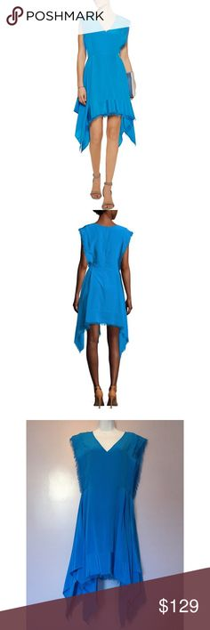 {Sandro} Silk Fringed Dress A vibrant hue and frayed edging define the eye-catching allure of this must-have style from Sandro. Crafted with a twirl-worthy handkerchief hem, this dress corners the market on effortless elegance. Features: silk; v-neck, sleeveless & frayed details at sides and hems. Handkerchief hem & concealed back zipper. The tag says size 3 = Large. Sandro Dresses