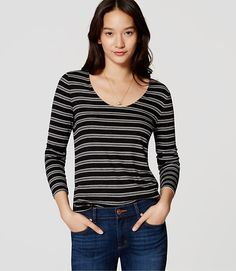 Image of Striped Long Sleeve Scoop Neck Tee