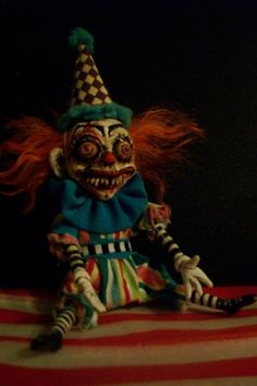 Miniature Creepy Clown Art Doll OOAK SKIZZO the by SixLegDeer
