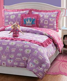Look what I found on #zulily! Purple Princess Doll & Reversible Comforter Set #zulilyfinds