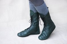 Always wanted a pair of boots like this :) Kinda pricy though... | Impulse in Green  Handmade Leather Boots  by TheDrifterLeather, $150.00