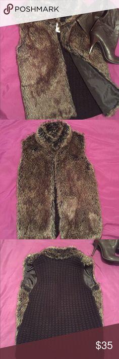 Covington Petite Faux Fur Stylish eye-catching women's faux fur vest with chunky knit back. Bundle & Save! Covington Jackets & Coats Vests
