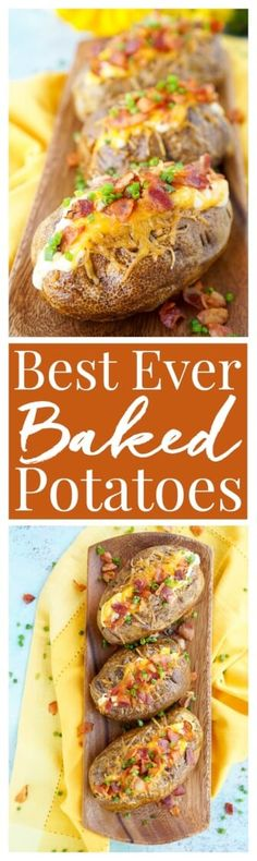 These are the Best Ever Baked Potatoes, they're perfectly seasoned and loaded up with a creamy dressing, cheddar cheese, bacon, and chives! via @sugarandsoulco