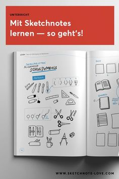 Use sketchnotes at school - how it works! - - Use sketchnotes at school and in class, it& that easy! With examples and instructions. Scrapbook Organization, Paper Organization, School Organization, Baby Scrapbook, Travel Scrapbook, Scrapbook Paper, Scrapbooking, Note Doodles, Simple Doodles