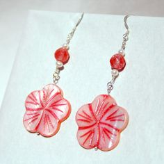 Handcrafted Silver and Shell Dangle Earrings by tkmJewelryDesign, $22.00