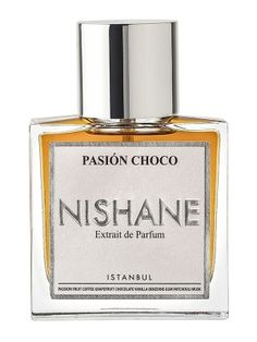 Pasion Choco Nishane. Top notes are passionfruit, coffee and grapefruit; middle notes are dark chocolate, lime (linden blossom), orchid and coriander; base notes are vanilla, benzoin, patchouli and black musk.