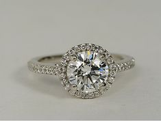 #Blue Nile Diamond Halo Engagement Ring in Platinum #wedding