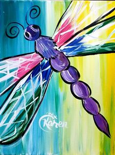 Mommy & Me Spring Dragon Fly | Both paint on 1 Canvas | 04/14/18 | 10:00 - 11:30am | Fredericksburg, VA Wine & Design #canvaspaintingwine