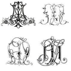 Custom Vintage Monogrammed Stationery, Victorian Monogram Stationary  - set of 10. $75.00, via Etsy.