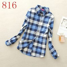 2016 Hot Sale Autumn Winter Ladies Female Casual Cotton Lapel Long-Sleeve Plaid Shirt Women Slim Outerwear Blouse Tops