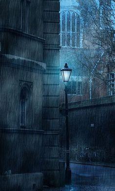 "bluepueblo: ""Winter Rain, Cambridge, England photo via connie "" Sound Of Rain, Singing In The Rain, Cambridge England, England Uk, Visit Cambridge, England Winter, I Love Rain, Rain Days, Rainy Night"