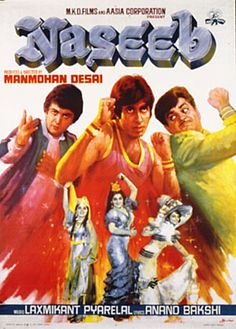 Naseeb (1981), Amitabh Bachchan, Classic, Indian, Hand Painted, Bollywood, Hindi, Movies, Posters