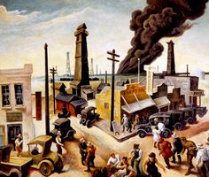 Thomas Hart Benton, Boomtown, 1928.Memorial Art Gallery, Rochester. N.Y.   In the 1920s, Benton embarked on a style that incorporated Synchromist rhythmic line and expressive color with representational imagery of rural America.  With this major shift in style, Benton established the Regionalist movement.  Many consider Boomtown to be the artist's first Regionalist masterpiece.