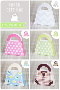 DIY paper gift bags shaped like purses, party favor bags Paper Purse, Paper Gift Bags, Paper Gifts, Diy Paper, Paper Crafting, Moldes Para Baby Shower, Paper Toys, Craft Gifts, Gift Tags