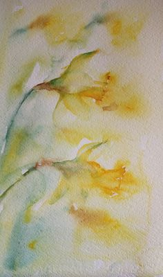 """""""Spring Sunshine"""" Painting daffodils in my garden on St Davids Day 2015. A beautiful way to enjoy the Spring sunshine #watercolor jd"""