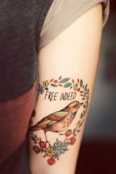i'm like a bird // free // freedom // wreath // ink // tattoo //