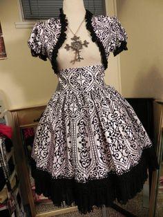 Black and White Flocked Damask Skirt/Bolero Set  by Silversark, $130.00