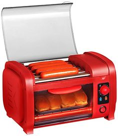 Ahhhhh, nothing better than a great hot dog at the ballpark. With the Elite Cuisine Hot Dog Roller/Toaster Oven, you can have that ball park hot dog taste anytime! five stainless steel rollers ensure your hot dogs are evenly cooked every time and the Hot Dogs, Specialty Appliances, Small Appliances, Cooking Appliances, Kitchen Appliances, Perfect Bun, Aluminum Tray, Maker, Cuisines Design