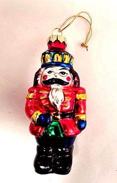 Nutcracker Soldier Hand Painted Glass Ornament Vintage Christmas Decoration