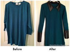 Ulterior Alterations: Sweater with Removable Leather Details Before & After