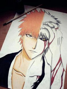 Ichigo/Hollow Ichigo-my biggest anime crush Awesome Anime, Anime Love, Anime Guys, Awesome Art, Manga Art, Manga Anime, Ichigo Y Rukia, Bleach Art, Bleach Anime Art