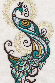 Embroidery Library - Machine Embroidery Designs Inspired Project Page Machine Embroidery Designs, Embroidery Stitches, Embroidery Patterns, Hand Embroidery, Embroidery Tattoo, Peacock Embroidery Designs, Geometric Embroidery, Simple Embroidery, Embroidery Monogram