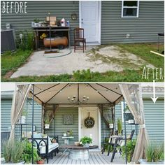 Thrift store finds, DIY projects, and repurposed items create the perfect space for outdoor entertaining.