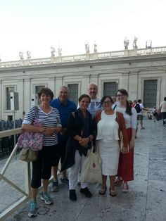 Our clients with one of the best guides Deborah on September 1st just outside of St Peter's Basilica! With this early morning tour Deborah was able to give our clients the best experience of the Vatican Musuem without any busy rooms! For more information on our Vatican Early entrance tour: www.livitaly.com/tour/early-entrance-vatican-small-group-tour/?src=pinterest