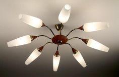 8 Light Sputnik Pendant Lamp Chandelier Danish Teak Nelson Eames Luxus Rispal