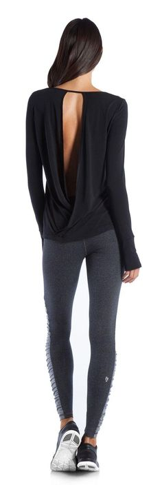 Open-Back Yoga Top and side rouched yoga pants   Cute yoga clothes @ http://www.FitnessGirlApparel.com