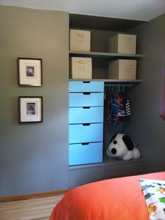 Converted a former closet space into a built-in dresser and toy box