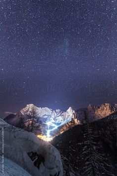 night shot of san martino di castrozza and the dolomites in the back, italy