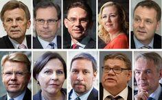 Kuvassa ylhäältä vasemmalta: Mauri Pekkarinen (kesk), eduskunnan talousvaliokunnan puheenjohtaja vuosina 2011–2015, eduskunnan I varapuhemies, Tapio Kuula, Fortumin toimitusjohtaja vuosina 2009–2015, Jyrki Katainen (kok), pääministeri vuosina 2011–2014, EU-komissaari, Jutta Urpilainen (sd), valtiovarainministeri vuosina 2011–2014, kansanedustaja, Jan Vapaavuori (kok), elinkeinoministeri vuosina 2012–2015, Euroopan investointipankin varapääjohtaja. Alhaalla vasemmalta: Jyri Häkämies (kok)…