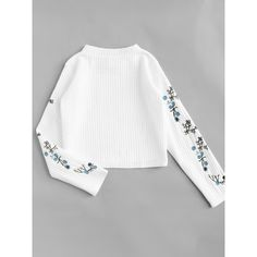 Floral Embroidered Ribbed Top ❤ liked on Polyvore featuring tops, flower embroidered top, rib top, ribbed top, white ribbed top and white top