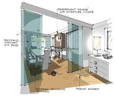 ENTRÉE-croquis architecture Intérieure- Dominique JEAN pour EDECO Rénovation