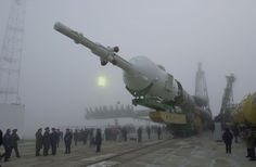 Soyuz TM-31 being transported to the launch pad.