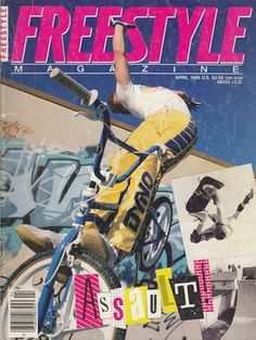 """One of my """"Freestyle Magazines,"""" (April 1986 issue) GT pro, Martin Aparijo doing a """"cowboy"""" trick..."""