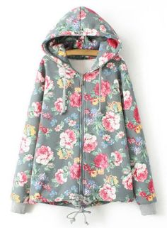 Stylish Hooded Floral Print Flocking Long Sleeve Hoodie For Women