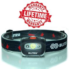 Blitzu i2 – Brightest Headlamp Flashlight with Red LED Light for Kids, Men, and Women. Waterproof – Perfect For Running, Walking, Reading, Camping, Home Improvement Projects and Emergency Use NAVY