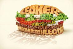 Burger King: great taste Food Typography, Creative Typography Design, Typographic Design, Typography Prints, Lettering, Typographic Poster, Food Advertising, Creative Advertising, Print Advertising