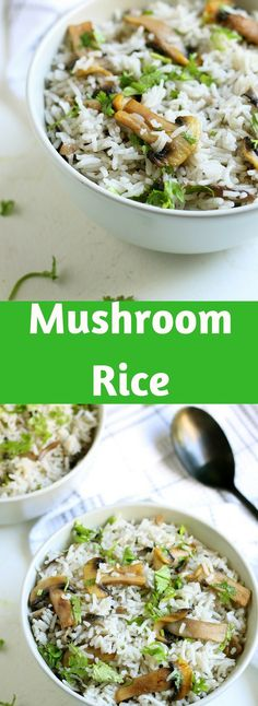 Mushroom rice:-Rice cooked with onion,garlic and mushrooms then finished with fresh cilantro leaves.A very easy and simple rice recipe so tasty and easy to make. Best Pasta Dishes, Pasta Side Dishes, Pasta Dinner Recipes, Rice Dishes, Best Indian Recipes, Asian Recipes, Easy Rice Recipes, Side Dish Recipes, Healthy Recipes