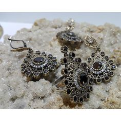 Onyx Sterling Silver Ottoman Set #silver #set #ottoman #wholesale #women #fashion #turkish #handmade #jewelry #jewellers #jewellery #jewel #ruby #granat #emerald #sapphire #gemstone #new #antique #ring #earring #necklace