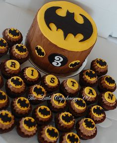 Batman Birthday Cake and Cupcakes