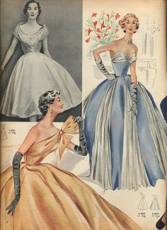 1950s evening wear elegance. Fashion illustrations.