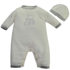 Emile et Rose Style 1582 'Dougie' Ivory Knitted Teddy All in One